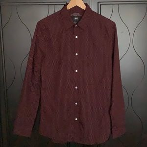 H&M Burgundy Microdot Long Sleeve Button-up Shirt